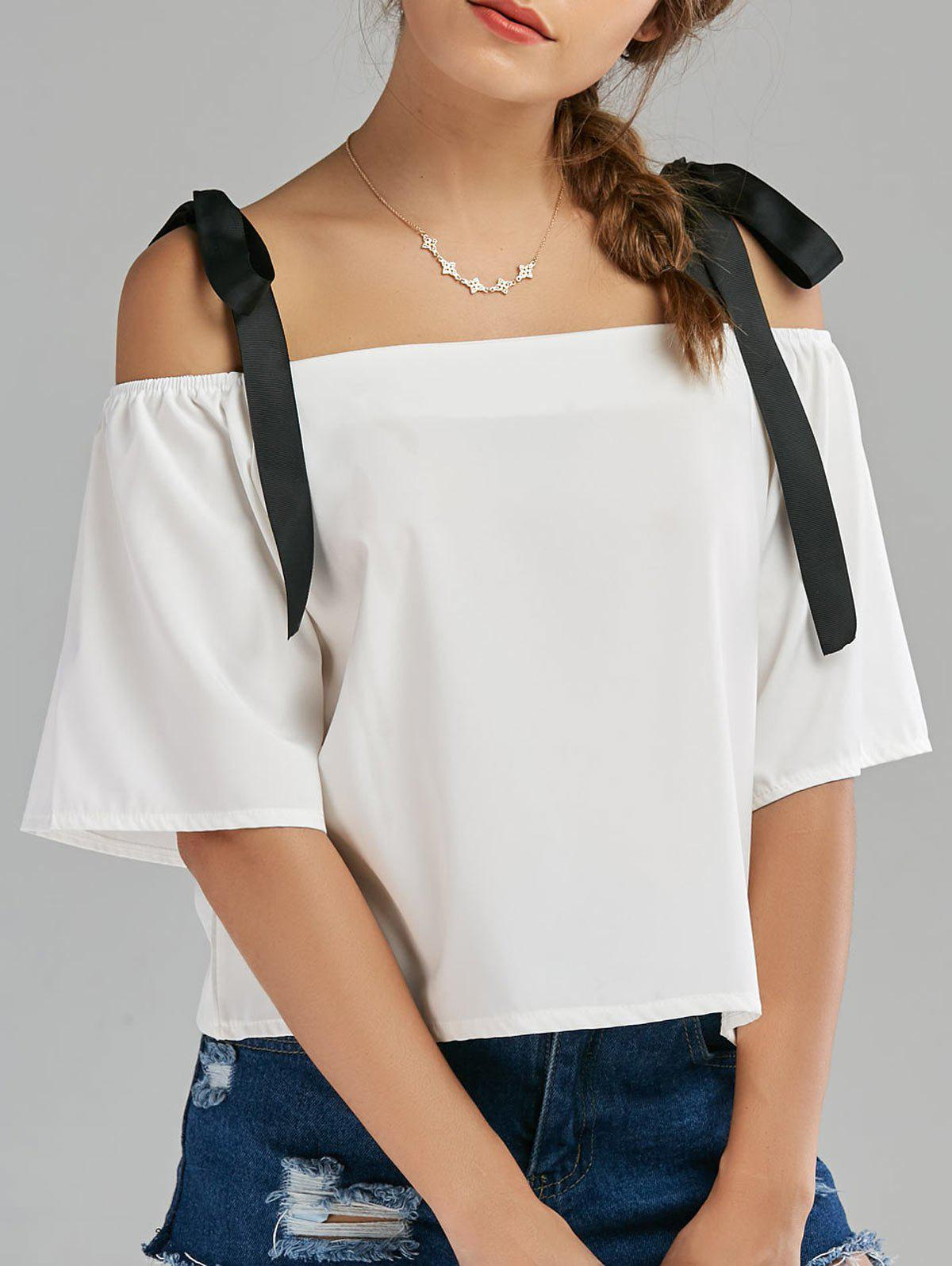 Cold Shoulder Bowknot Chiffon Top - WHITE M