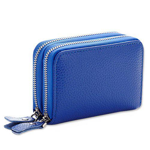 Zipper Around Faux Leather Card Bag - BLUE