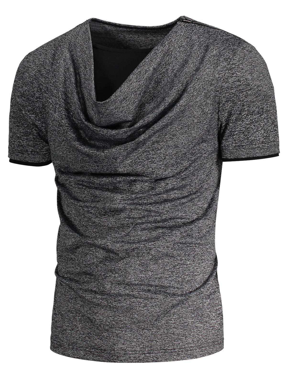 Heaps Collar Shoulder Zip Up Design T-shirt - GRAY XL