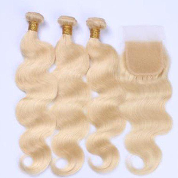 3Pcs/Lot 6A Virgin Body Wave Perm Dyed Human Hair Weaves - BLONDE 20INCH*20INCH*20INCH*CLOSURE 18INCH