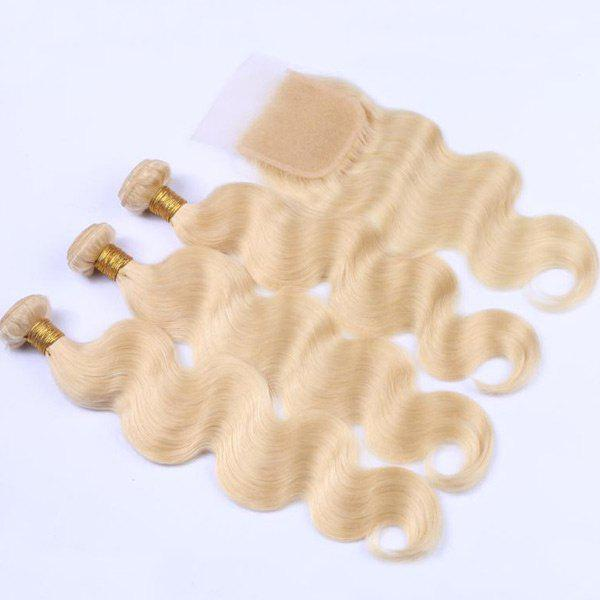 3Pcs/Lot 6A Virgin Body Wave Perm Dyed Human Hair Weaves - BLONDE 12INCH*12INCH*12INCH*CLOSURE 10INCH