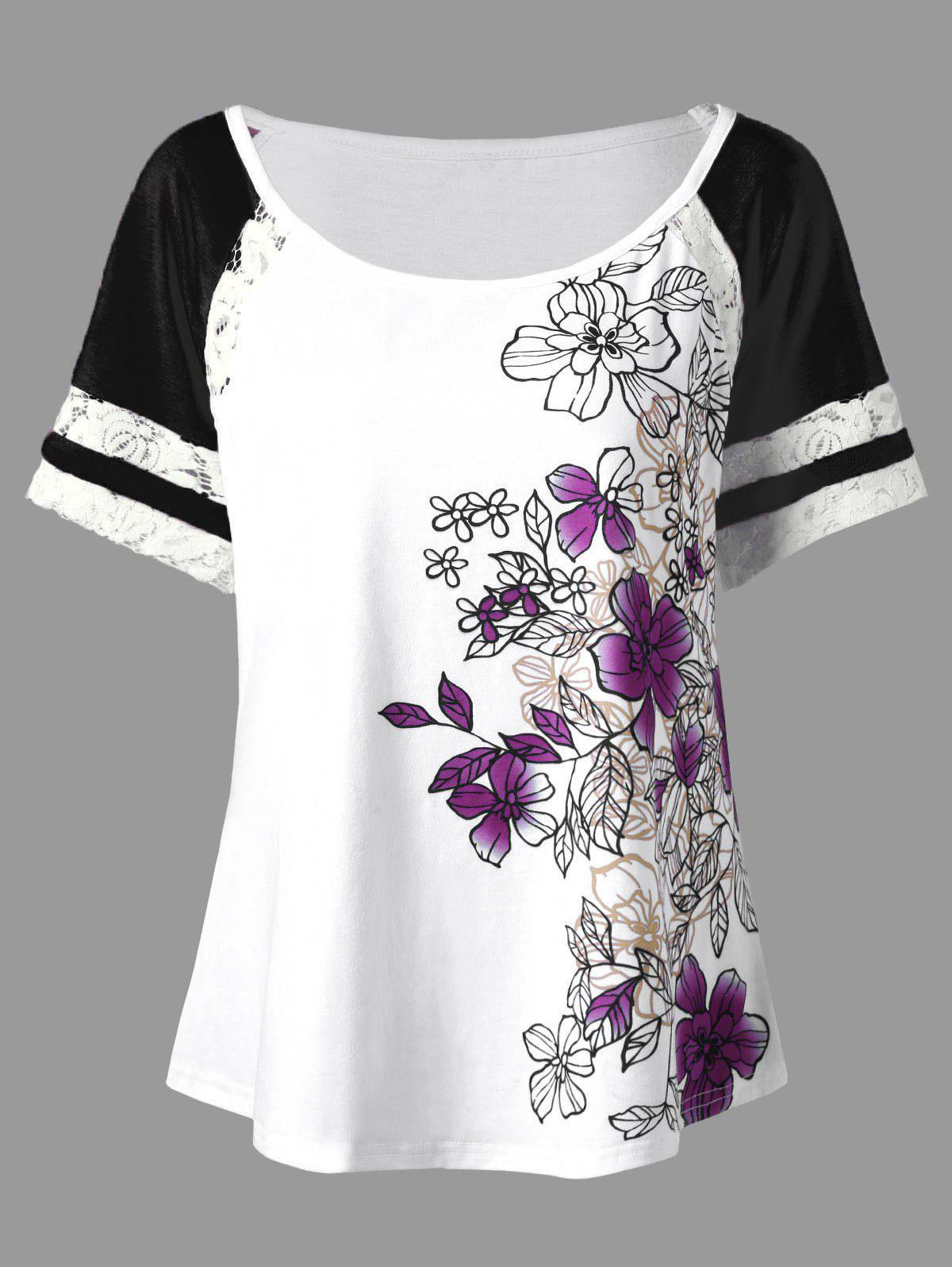 Floral Print Plus Size T-shirt - PURPLE 5XL