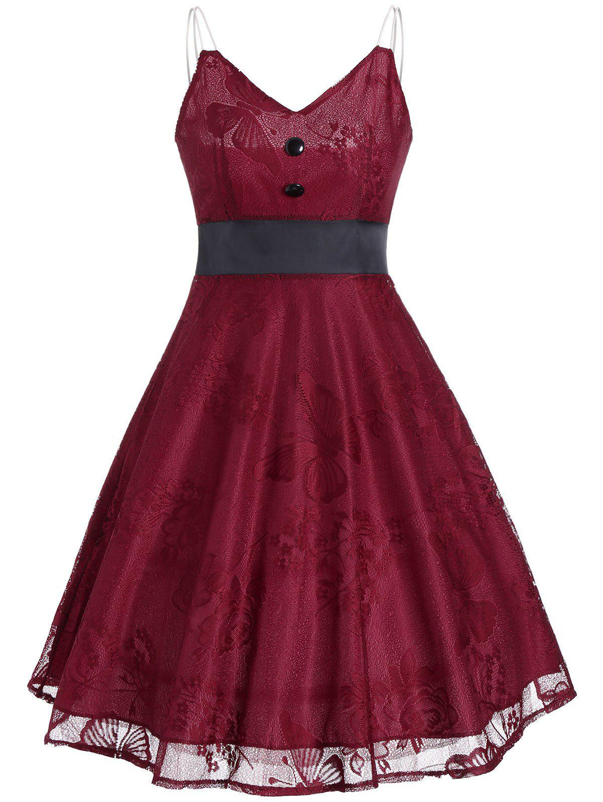 Vintage Lace Panel Buttons Slip Dress - WINE RED L