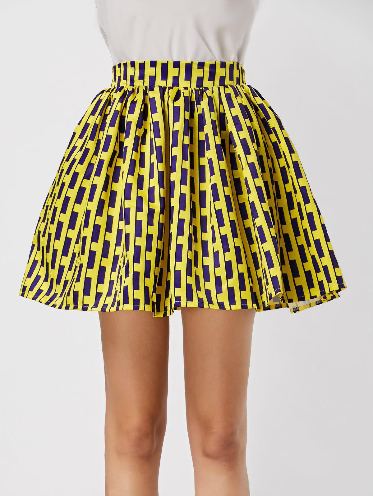 2018 High Waisted Printed Ball Gown Skirt BLUE/YELLOW XL In Skirts ...