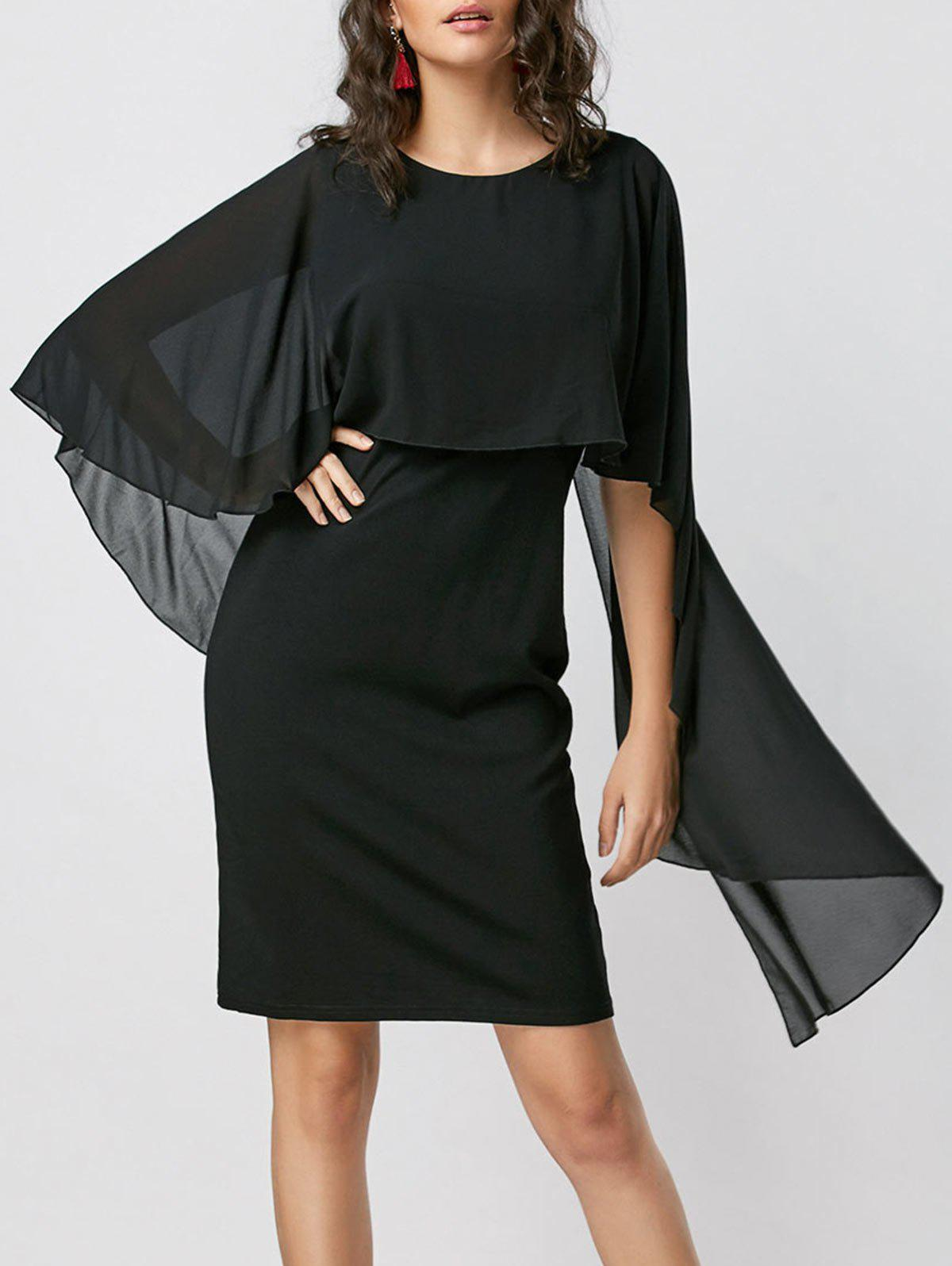 Capelet Bodycon Dress - BLACK XL