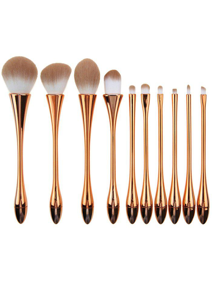 10Pcs Plated Waisted Teardrop Shape Makeup Brushes Set 10pcs unicorn tapered shape makeup brushes set