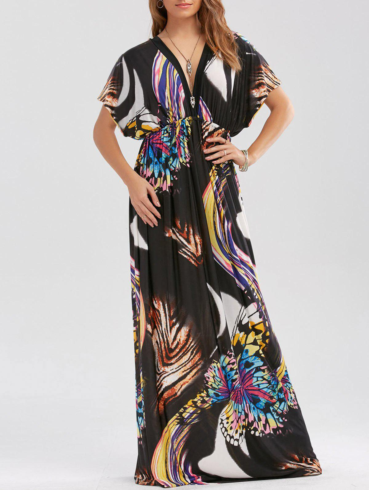Empire Waist Butterfly Print Maxi Dress - BLACK XL