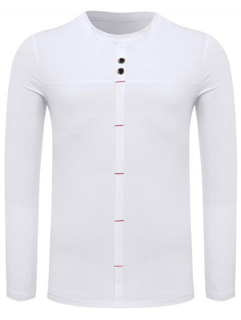 Crew Neck Long Sleeve Button Embellished Tee - WHITE 2XL