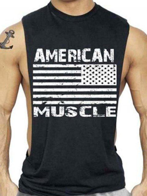 Workout Muscle Patriotic American Flag Tank Top - DEEP GRAY 2XL