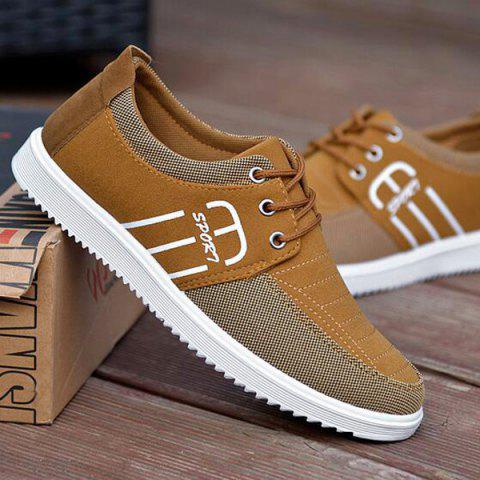Stitching Tie Up Breathable Casual Shoes - KHAKI 43