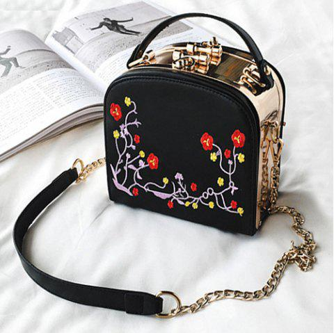 Metal Trimmed Floral Embroidery Handbag - BLACK