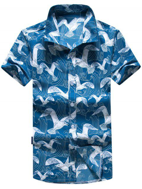 Short Sleeve Seagull Printed Hawaiian Shirt - BLUE 4XL
