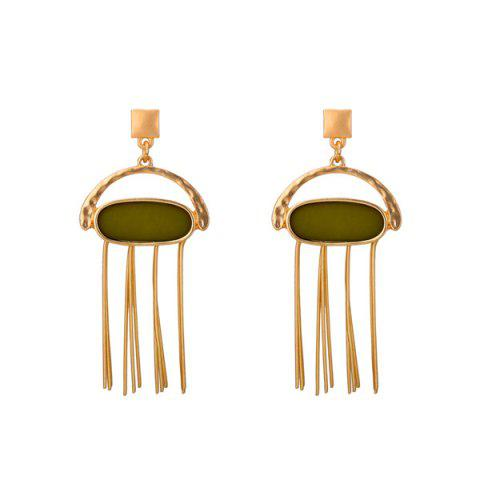 Bar Fringed Oval Resin Drop Earrings - ARMY GREEN