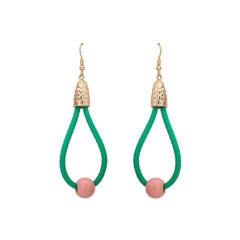 Teardrop Resin Bead Hook Drop Earrings - GREEN