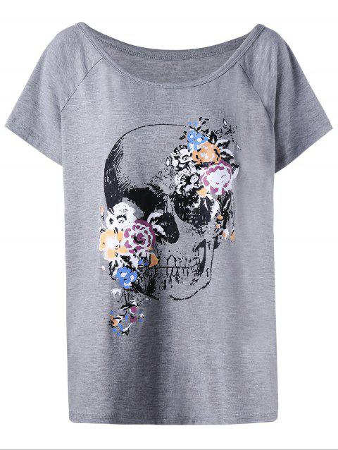 Raglan Sleeve Plus Size Skull T-Shirt - GRAY XL