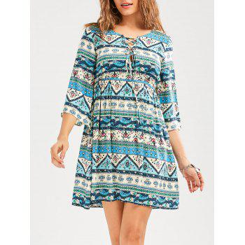 Empire Waist Geometric Floral Print Casual Dress