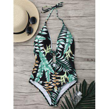 Tropical Halter Backless One Piece Swimsuit