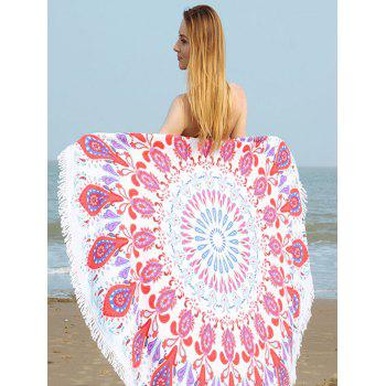 Printed Round Fringe Beach Towel