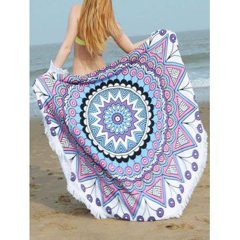 Fringe Round Beach Towel with Mandala Print