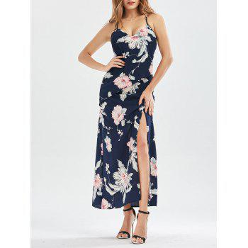 Lace Up High Split Floral Maxi Dress