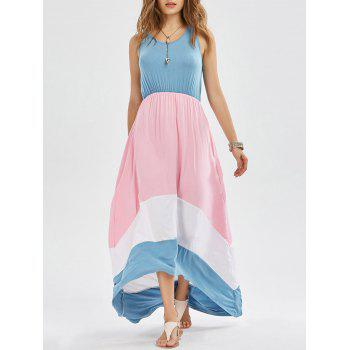 Sleeveless Color Block High Low Dress