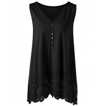 Plus Size Single Breasted Openwork Scalloped Tank Top