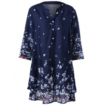 Plus Size Tiny Floral Bohemian Tunic Blouse