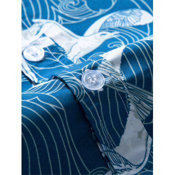 Short Sleeve Seagull Printed Hawaiian Shirt - BLUE 2XL