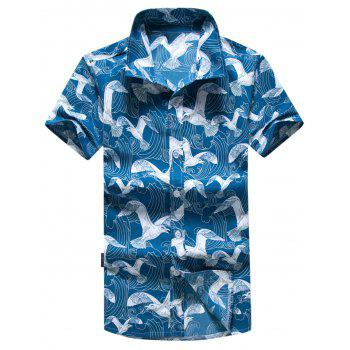 Short Sleeve Seagull Printed Hawaiian Shirt