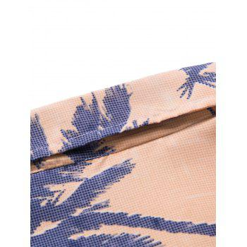 Coconut Tree Printed Short Sleeve Hawaiian Shirt - ORANGE XL