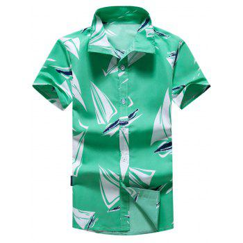 Short Sleeve Sailboat Printed Hawaiian Shirt
