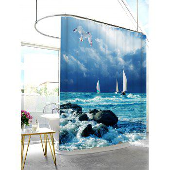Sea Wave Print Water Resistant Shower Curtain - BLUE W71 INCH * L71 INCH
