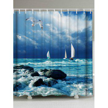 Sea Wave Print Water Resistant Shower Curtain
