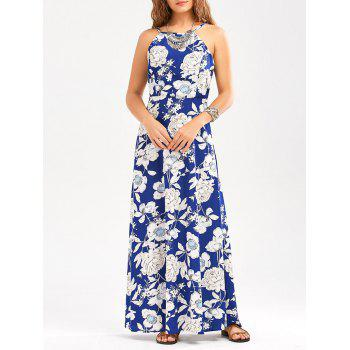 Sleeveless High Waisted Flower Maxi Dress