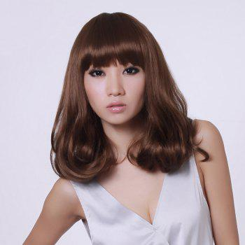 Medium Neat Bang Shaggy Slightly Curly Synthetic Wig
