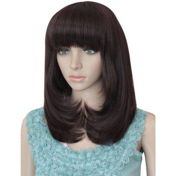 Neat Bang Tail Adduction Layered Medium Straight Synthetic Wig