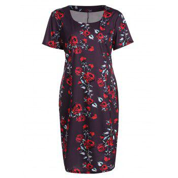 Plus Size Rose Floral Midi Pencil Dress