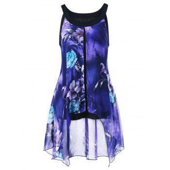 Plus Size Floral Print Sleeveless Asymmetrical Blouse