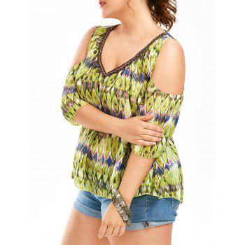 Snake Print Cold Shoulder Plus Size Blouse