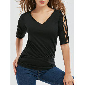 V Neck Cutout Criss Cross T-Shirt