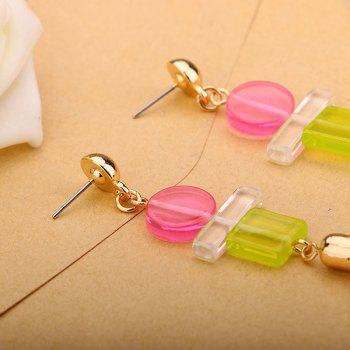 Artificial Leather Tassel Geometric Resin Earrings - GOLDEN