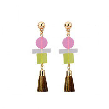 Artificial Leather Tassel Geometric Resin Earrings
