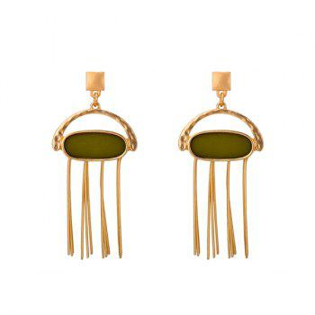 Bar Fringed Oval Resin Drop Earrings