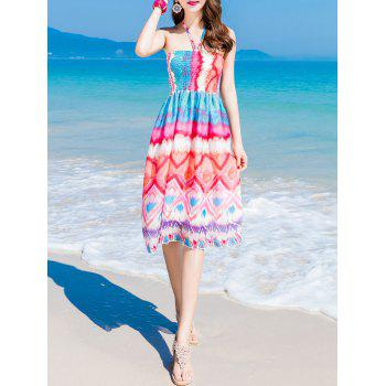 Halter Colorful Print Chiffon Shirring Dress