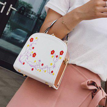 Metal Trimmed Floral Embroidery Handbag -  WHITE