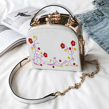 Metal Trimmed Floral Embroidery Handbag - WHITE WHITE