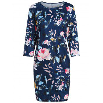 Plus Size Floral Printed Pencil Dress with Pockets