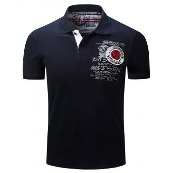 Graphic Print Anchor Embroidery Polo T-shirt