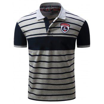 Embroidered Color Block Panel Stripe Polo T-shirt