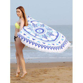 Round Fringe Beach Towel with Mandala Print